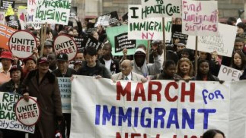 Marcha de inmigrantes por la reforma migratoria en Nueva York.