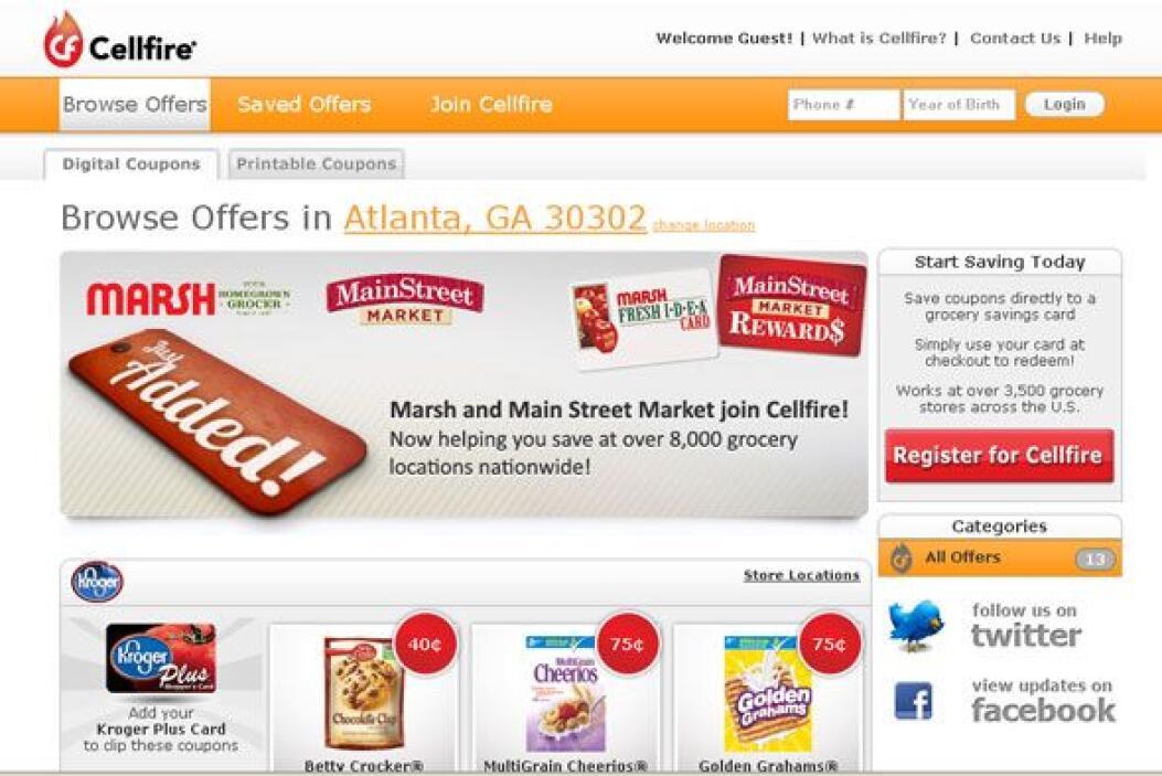 CELLFIRE - Carga cupones de tiendas de comestibles y otros vendedores mi...