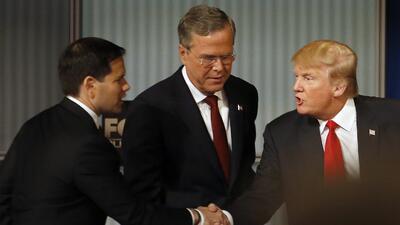 Rubio, Bush y Trump en el cuarto debate republicano