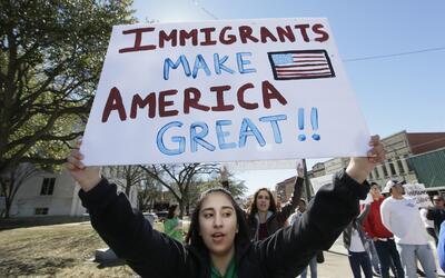 Una manifestante en Sherman, Texas