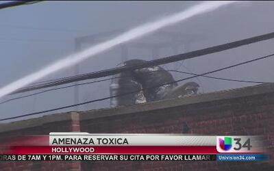 Incendio en area industrial en Hollywood pone en alerta a las autoridades