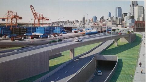 Una representación del puente flexible que Seattle espera sufrir&...