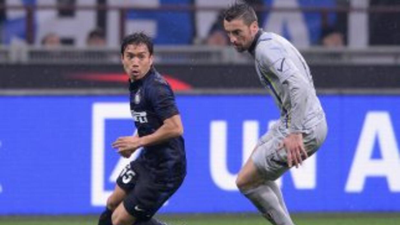 Nagatomo hizo el único gol para los 'nerazzurri'.