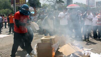 Disturbios en una manifestación en Oaxaca