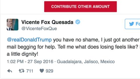 Vicente Fox y el pedigüeño Trump