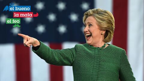 Hillary Clinton con 'El Bueno, La Mala y El Feo'.
