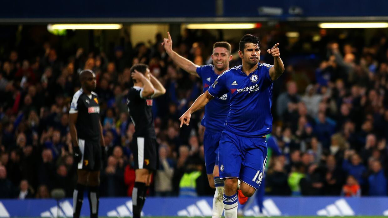 Diego Costa festaja uno de sus goles.