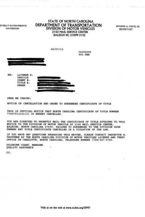 Con cartas como estás informó el Departamento de Vehículos de Carolina d...