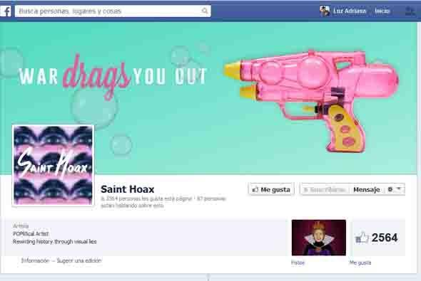 Vista del Facebook del artista Saint Hoax en donde publica sus creaciones.