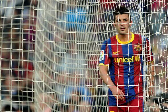 David Villa, otro hombre importante en el ataque de los barcelonistas, t...