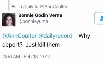 Bonnie Godin Verne publicó comentarios racistas en sus redes soci...