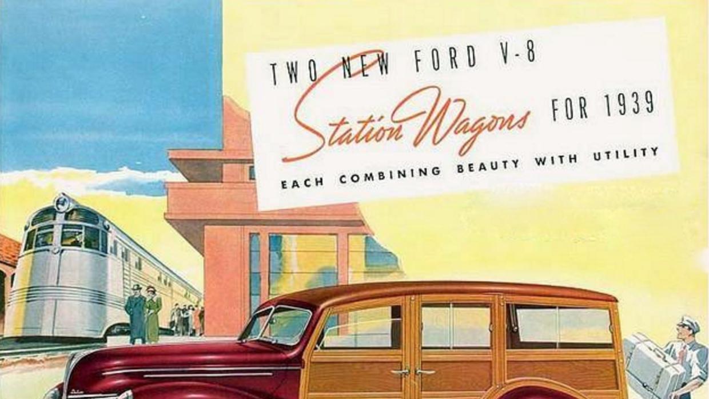 Anuncio publicitario de Ford mostrando a su Station Wagon V-8 1939 recog...