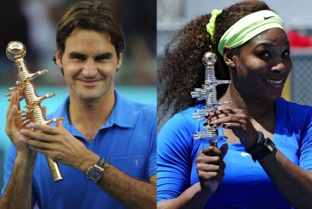 Los ganadores del Masters 1000 de Madrid 2012, Roger Federer y Serena Wi...