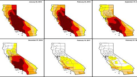 Imágenes de la sequía en California de enero de 2016 a febrero de 2017.