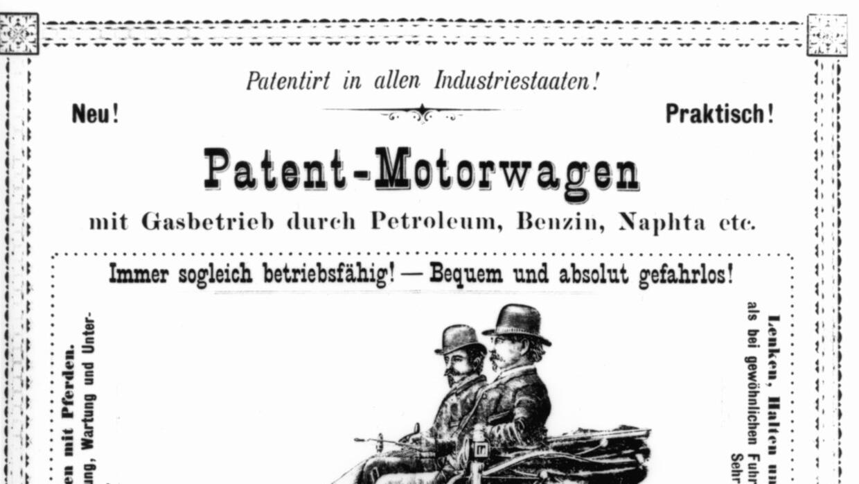 Aviso publicitario del Benz Patent Motorwagen