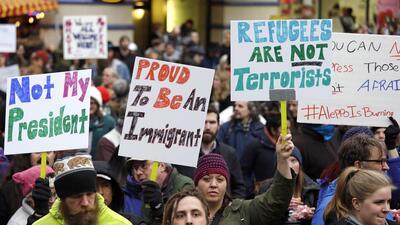 Protestas en el aeropuerto de Seattle