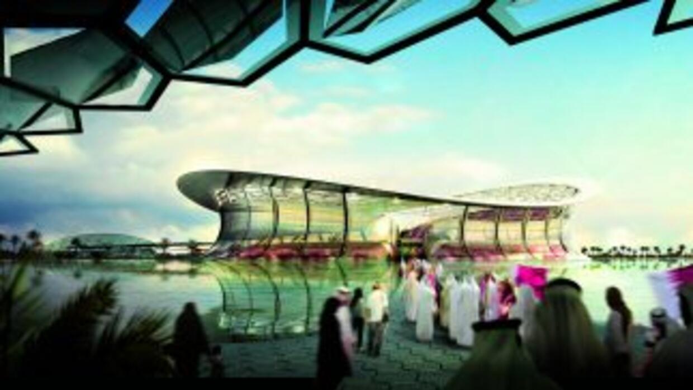 Vista de los exteriores del proyecto del futuro estadio de Lusail, idead...