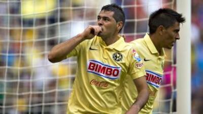 Pablo Aguilar tras anotar en gol de la victoria del América sobre Tijuana.