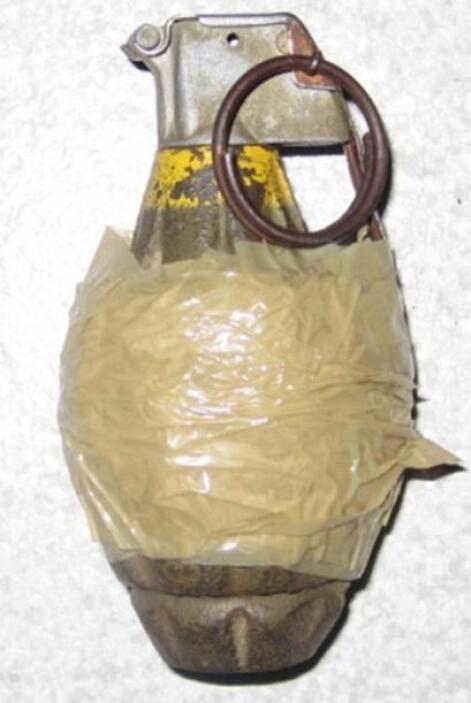 Entre las armas con las que contaban también se halló una granada de fra...