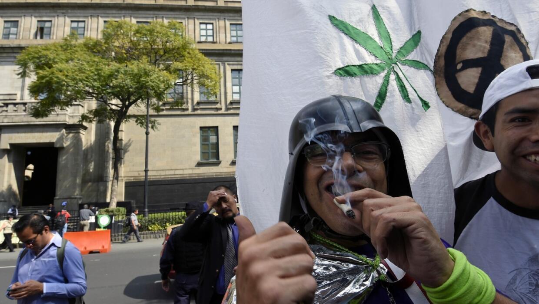 Manifestantes a favor de la despenalización de la marihuana.