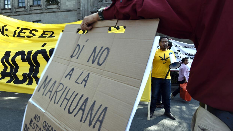 Manifestantes a favor y en contra de la legalización de la marihuana.