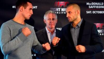 Rory MacDonald y Tarec Saffiedline en peso para UFC Fight Night en Halif...
