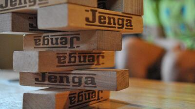 Jenga teaches our kids patience.