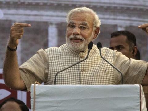 El candidato Narendra Modi, del opositor Partido Bharatiya Janata (BJP),...