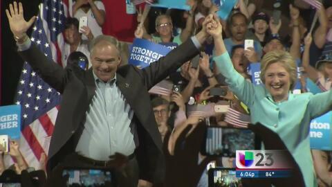 Hillary Clinton y Tim Kaine se presentaron en Miami