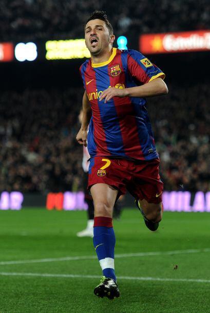 El goleador David Villa culminó una excelente jugada colectiva qu...