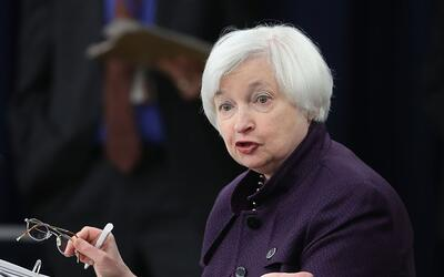 Federal Reserve Board Chair Janet Yellen speaks during a news conference...