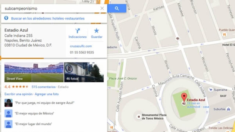 Al buscar subcampeonisimo en la aplicación nos envía al estadio Azul