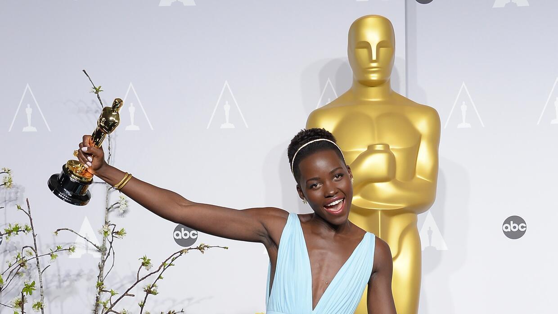 Actress Lupita Nyong'o celebrates winning Best Performance by 12 Years a...