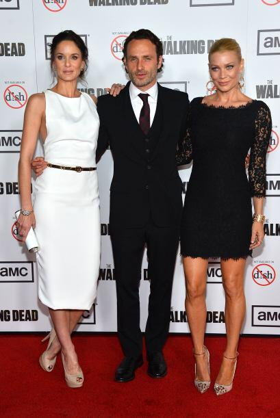 Con Andrew y Laurie Holden en el estreno de la tercera temporada, en oct...