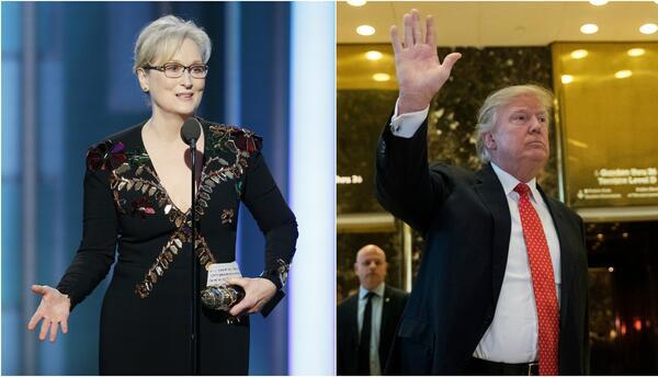 """Trump responde a Meryl Streep en Twitter y dice que está """"sobrevalorada""""..."""