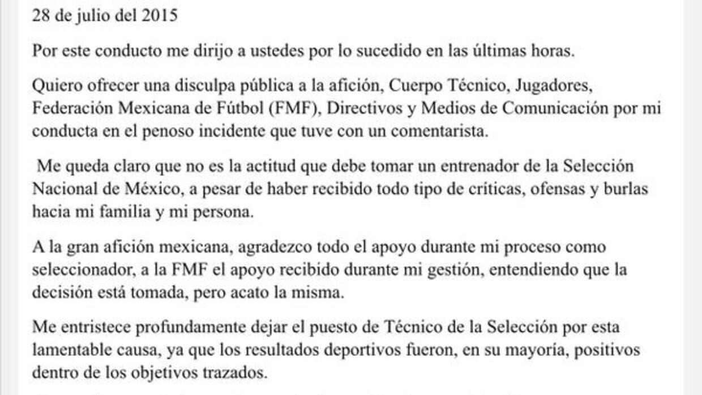Carta Miguel Herrera