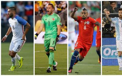 Clint Dempsey, David Ospina, Arturo Vidal y Lionel Messi.