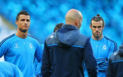 Cristiano Ronaldo y Gareth Bale en un entrenamiento con el Real Madrid.
