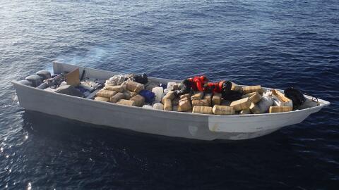 Embarcación con droga decomisada por la Guardia Costera en el sur...