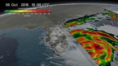 Representación de la tasa de precipitación causada por el huracán Matthe...