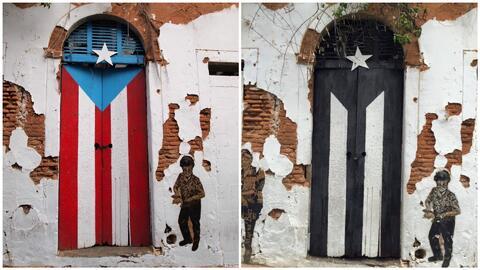 El 5 de julio de 2016 la icónica bandera pintada en una de la calle San...