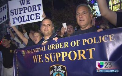 Muestran su apoyo por los policías asesinados en Nueva York