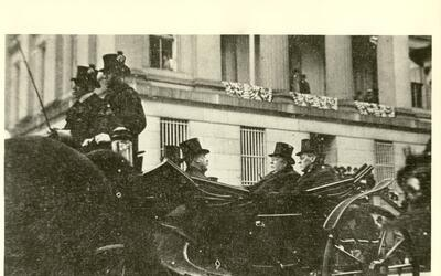 President-elect Wilson, alongside President Taft, en route to the capit...