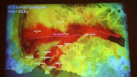 Científicos muestran un simulacro de un terremoto en el sur de Californi...