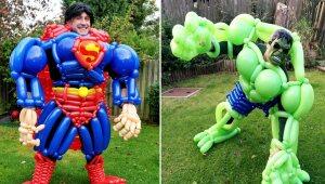 Superhéroes hechos de globos