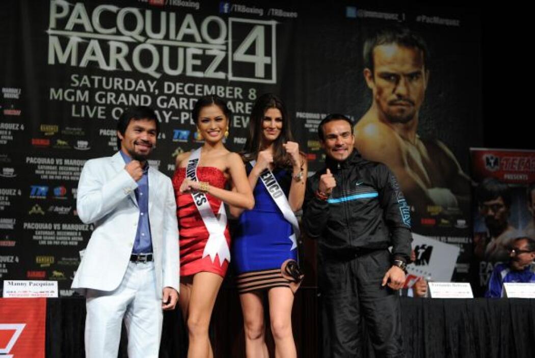 Manny Pacquiao y Juan Manuel Márquez estuvieron acompañados por las aspi...