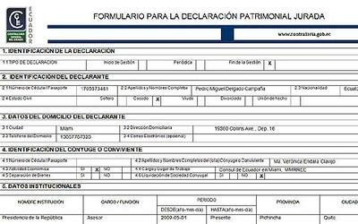 Copia de la Declaración Patrimionial Jurada del Presidente del Banco Cen...
