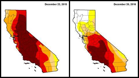 Comparativo de las zonas extremas de sequía de diciembre de 2015...