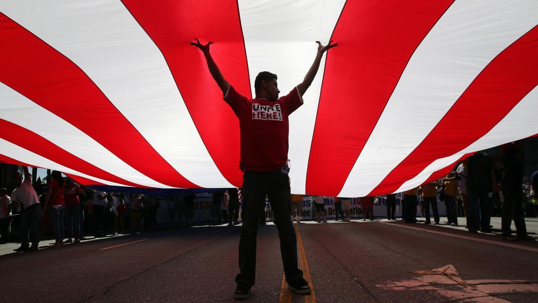Marcha en apoyo a la reforma migratoria celebrada en Los Ángeles  como p...
