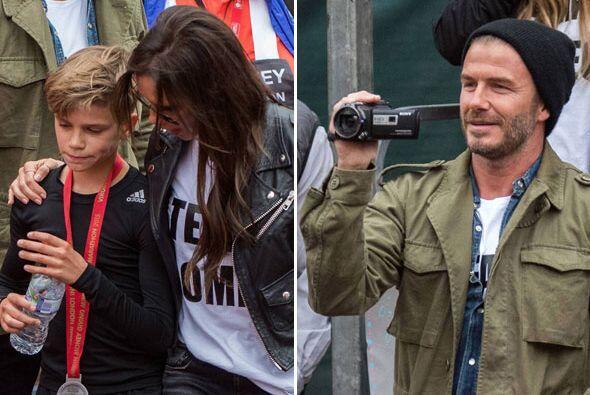 Toda la familia Beckham acudió a apoyar al pequeño Romeo.